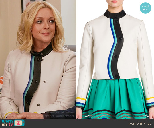 Fendi Asymmetrical Button-Front Leather Jacket worn by Jacqueline Voorhees (Jane Krakowski) on Unbreakable Kimmy Schmidt