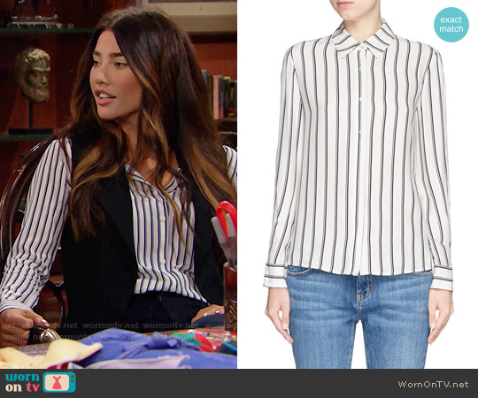 Frame Le Classic striped washed silk-charmeuse shirt worn by Steffy Forrester (Jacqueline MacInnes Wood) on The Bold & the Beautiful