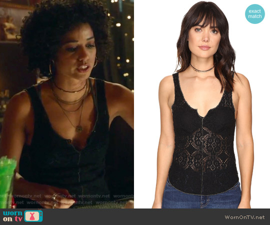Piece-Dye Pucker Lace Cami by Free People worn by Alisha Wainwright  on Shadowhunters