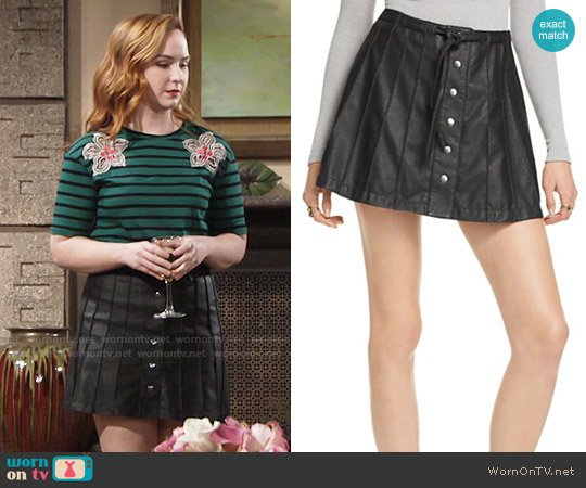 Free People Snap Front Faux Leather Skirt worn by Camryn Grimes on The Young & the Restless