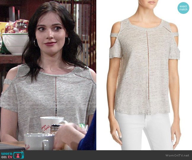 Generation Love Ladder Stitch Cold Shoulder Tee worn by Tessa Porter (Cait Fairbanks) on The Young & the Restless