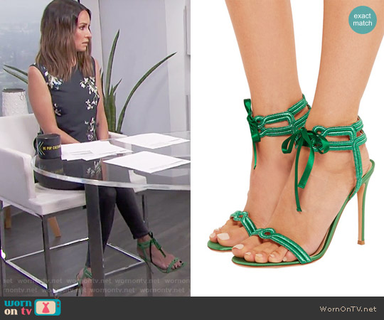 Gianvito Rossi Satin and lamé sandals worn by Catt Sadler on E! News