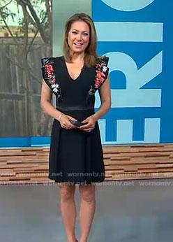 Ginger's black embroidered v-neck dress on Good Morning America