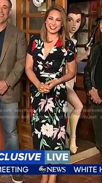 Ginger's black floral wrap dress on Good Morning America
