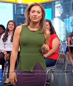 Ginger's green front slit sleeveless top on Good Morning America