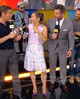 Ginger's sleeveless top and floral lace skirt on Good Morning America