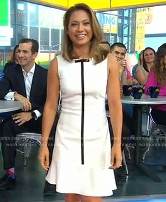 Ginger's white dress with ribbon on Good Morning America