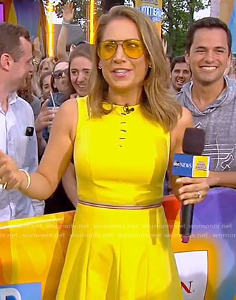 Ginger's yellow sleeveless dress with cutouts on Good Morning America