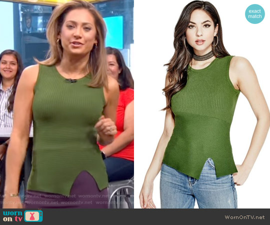 Alexis Rib Knit Top by Marciano by Guess worn by Ginger Zee (Ginger Zee) on Good Morning America
