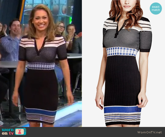 Jaymes Contrast Sweater Dress by Guess worn by Ginger Zee on Good Morning America