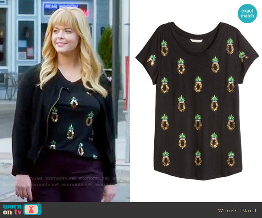 H&M Sequined Top in Black / Pineapple worn by Sasha Pieterse on PLL