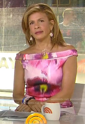 Hoda's pink floral off-shoulder dress on Today