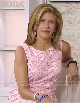 Hoda's pink lace dress with scalloped hem on Today