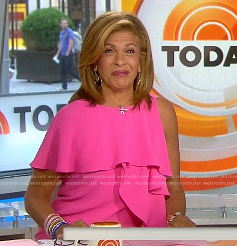 Hoda's pink ruffle one-shoulder dress on Today