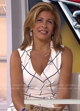 Hoda's white checked wrap dress on Today