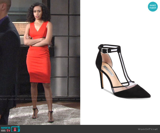 INC International Concepts Kaeley T-Strap Pumps worn by Mishael Morgan on The Young & the Restless