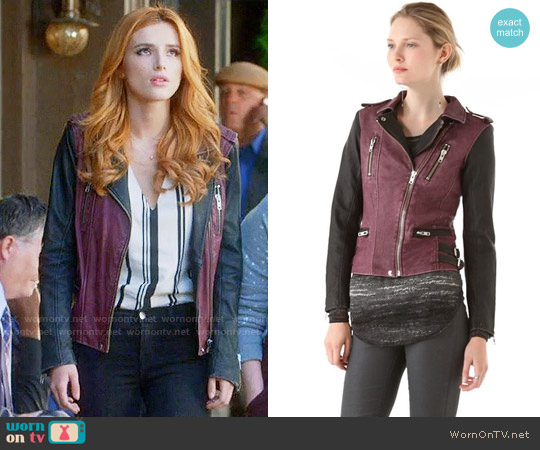 IRO Anabela Leather Jacket worn by Bella Thorne on Famous in Love