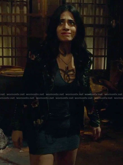 Isabelle's black embroidered moto jacket and mini dress on Shadowhunters
