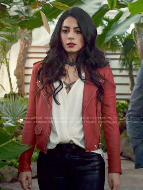 Isabelle's red moto jacket on Shadowhunters