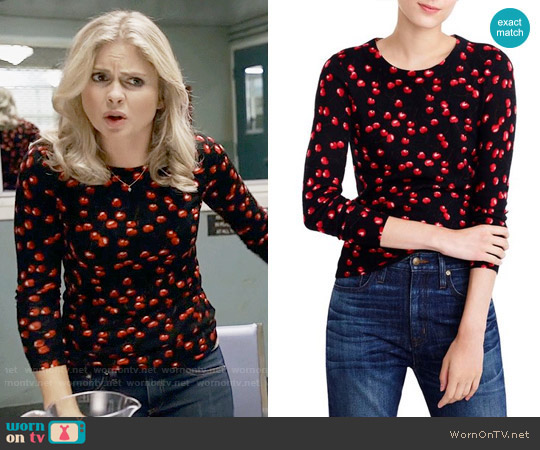 J. Crew Tippi Sweater in Cherry Print worn by Rose McIver on iZombie
