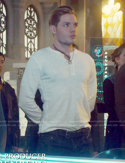 Jace's white long sleeve henley shirt on Shadowhunters