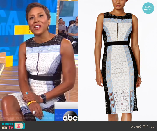 Colorblocked Lace Sheath Dress by Jax worn by Robin Roberts  on Good Morning America