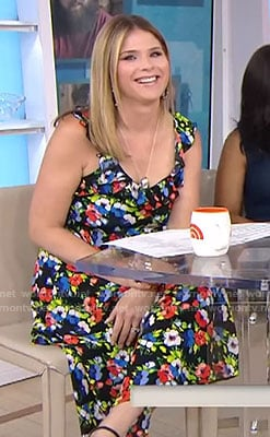 Jenna's black floral sleeveless dress on Today