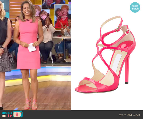 Lang Patent Strappy Sandal by Jimmy Choo worn by Ginger Zee on Good Morning America