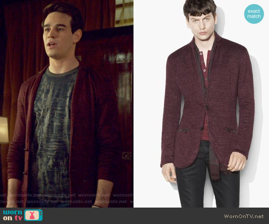 Linen Metallic Sweater Jacket by John Varvatos worn by Simon Lewis on Shadowhunters
