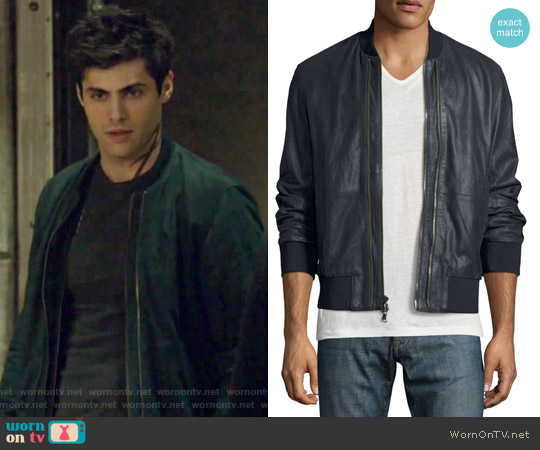 Burnished Leather Bomber Jacket by John Varvatos worn by Alexander Lightwood (Matthew Daddario ) on Shadowhunters