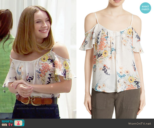 Joie Adorlee Blouse in Porcelain worn by Coco Spectra (Courtney Grosbeck) on The Bold & the Beautiful