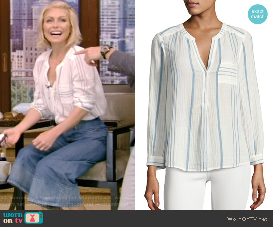 Almae Striped Gauze Top by Joie worn by Kelly Ripa on Live with Kelly & Ryan