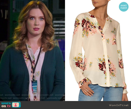 Devitri floral-print silk crepe de chine blouse by joie worn by Briga Heelan on Great News