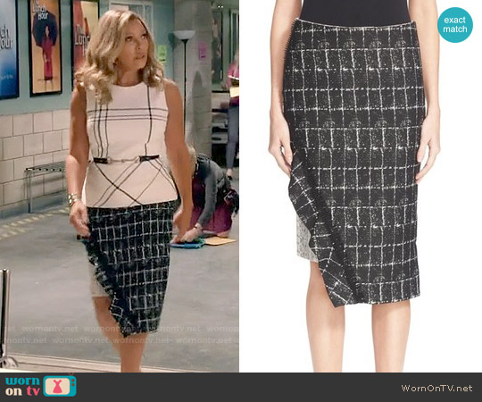 Jonathan Simkhai Asymmetrical Ruffle Pencil Skirt worn by Maxine Robinson on Daytime Divas