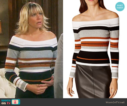 KAREN MILLEN Striped Off-the-Shoulder Top worn by Arianne Zucker on Days of our Lives