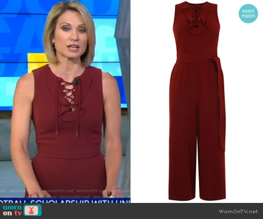 Cropped Lace Up Jumpsuit by Karen Millen worn by Amy Robach (Amy Robach) on Good Morning America
