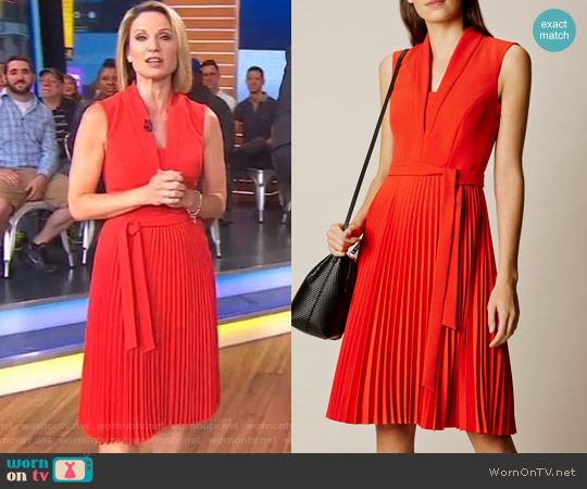 Shawl Collar Pleated Dress by Karen Millen worn by Amy Robach on Good Morning America