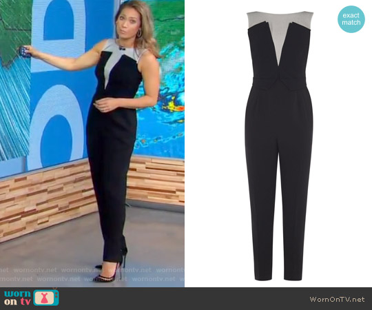 V-Neck Tailored Jumpsuit by Karen Millen worn by Ginger Zee  on Good Morning America