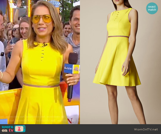 Yellow Lace Up Cotton Dress by Karen Millen worn by Ginger Zee on Good Morning America