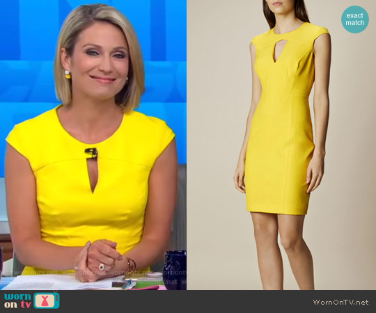 Yellow Scuba Pencil Dress by Karen Millen worn by Amy Robach  on Good Morning America
