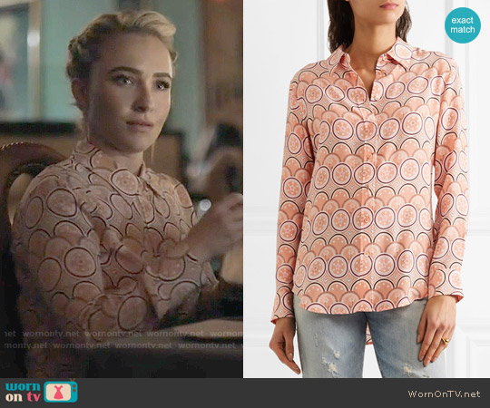 Kate Moss for Equipment Orange Print Silk Shirt worn by Juliette Barnes (Hayden Panettiere) on Nashville