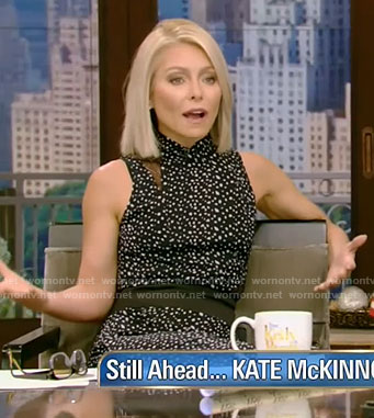 Kelly's black lace panel dress on Live with Kelly and Ryan
