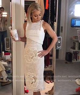 Kelly's white hibiscus lace dress on Live With Kelly
