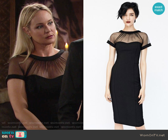 Maggy London Illusion Yoke Crepe Sheath Dress worn by Sharon Case on The Young & the Restless