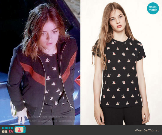 Maje Tami Tee worn by Aria Montgomery (Lucy Hale) on PLL