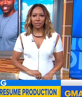 Mara's white cutout sleeve top on Good Morning America