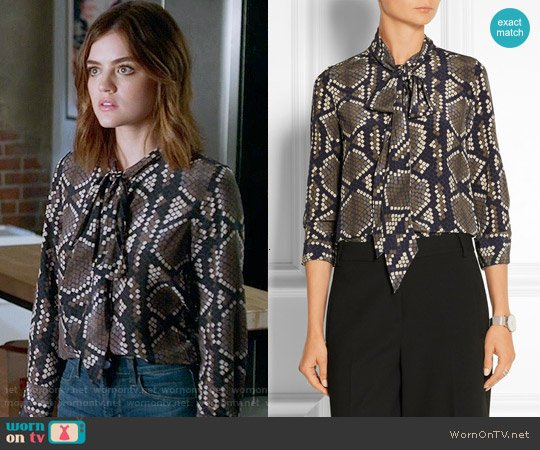 Marc Jacobs Pussy-bow snake-print silk-crepe blouse worn by Lucy Hale on PLL