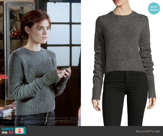 Marc Jacobs Back Lacing Molded Sweater worn by Aria Montgomery (Lucy Hale) on PLL