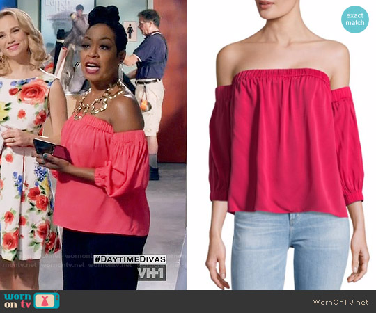 Milly Solid Off-The-Shoulder Silk Top worn by Tichina Arnold on Daytime Divas