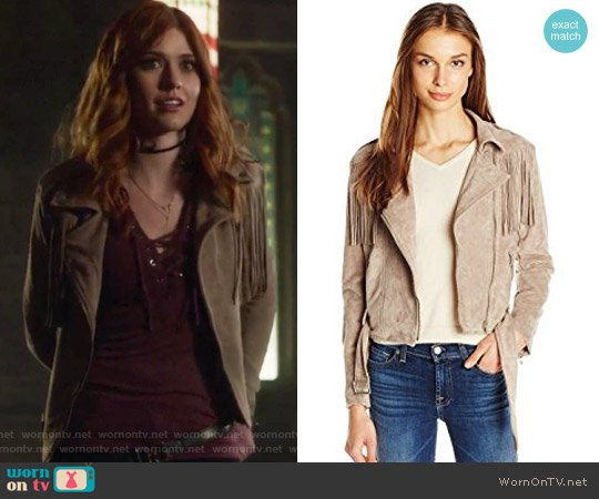 Suede Fringe Biker Jacket by  Moon River worn by Clary Fray (Katherine McNamara) on Shadowhunters